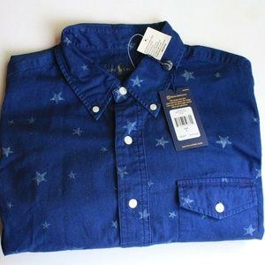 Polo Ralph Lauren Stars Blue Button Shirt Men's L